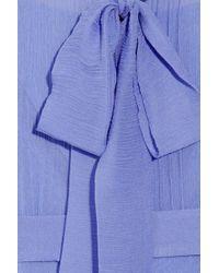 Luisa Beccaria Blue Crinkled Silk-chiffon Dress