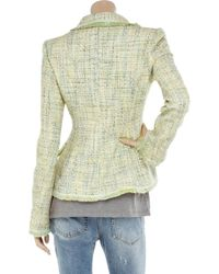 Luisa Beccaria Green Fringed Tweed Jacket