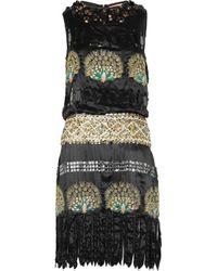 Manoush Black Sequin-embellished Embroidered Silk-satin Dress