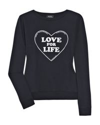 A.P.C. Blue Love For Life Printed Cotton Sweater