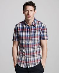 Band of Outsiders | Blue Faded Short-sleeve Madras Shirt for Men | Lyst