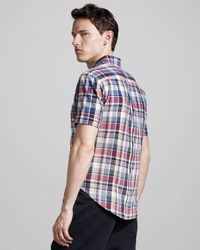 Band of Outsiders - Blue Faded Short-sleeve Madras Shirt for Men - Lyst