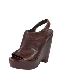 Elizabeth and James | Brown Leather Slingback Wedge | Lyst