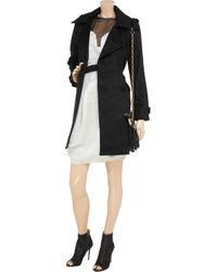 Halston Black Cashmere-blend Trench Coat