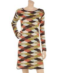 M Missoni Orange Fish Scale Knitted Sweater Dress