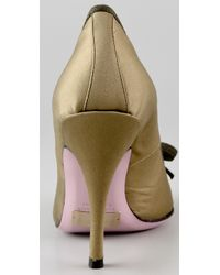 RED Valentino - Green Satin Pumps with Bow - Lyst