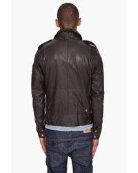 DIESEL - Lisard Black Leather Jacket for Men - Lyst
