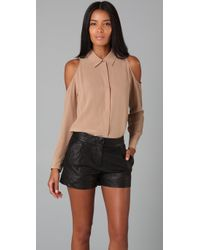 Equipment - Natural Nixie Open Shoulder Blouse - Lyst