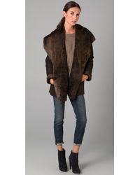 Vince - Brown Hooded Shearling Coat - Lyst