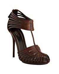 Gucci | Brown Leather Strappy Sandals | Lyst