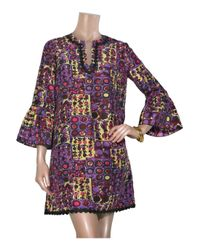 Anna Sui - Purple Printed Silk Tunic Dress - Lyst