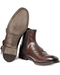 Alexander McQueen Brown Buckled Leather Boots for men