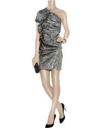 Isabel Marant Metallic Gia Brocade One-shoulder Dress