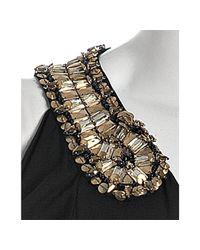 Alexander McQueen - Black Draped Jersey Embroidered Cutout Shoulder Dress - Lyst