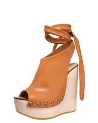 Chloé | Brown Tie-up Wedge Clog | Lyst