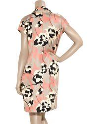 DKNY - Pink Floral-print Silk Dress - Lyst