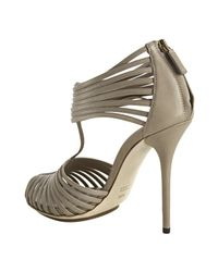 Gucci - Gray Sahara Leather Strappy Sandals - Lyst