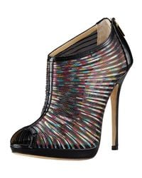 Jimmy Choo | Multicolor Hologram Mesh & Patent Bootie | Lyst