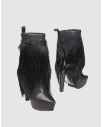 Alexander Wang | Black Faux-Fur and Goatskin Boots | Lyst
