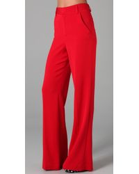 Alice + Olivia | Red Coral High Waist Pant | Lyst