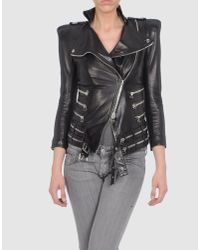 Balmain | Black Zip Detail Leather Jacket | Lyst