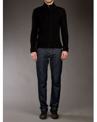 Dolce & Gabbana Black Zip Front Cardigan for men