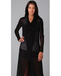 Helmut Lang - Black Long Sheer Cardigan - Lyst