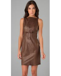 Robert Rodriguez - Brown Leather Sheath Dress - Lyst