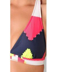 Tibi - Blue Pyramids Ikat Bikini Top - Lyst