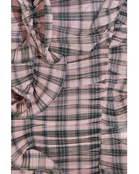 Marc Jacobs Pink Plaid Cotton-blend Ruffled Camisole