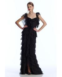 Oscar de la Renta   Black Long-Sleeve Chiffon Cocktail Dress   Lyst
