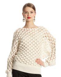 Oscar de la Renta White Butterfly Dolman Sweater