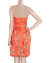 Oscar de la Renta Orange Sequin-embroidered Silk-gazar Dress