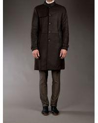 Giorgio Armani Brown Leather Long Coat for men