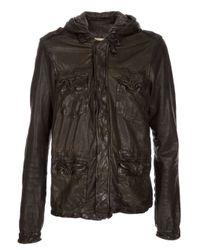 Giorgio Brato Green Military Leather Jacket for men