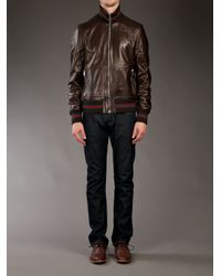 Gucci Brown Leather Jacket for men