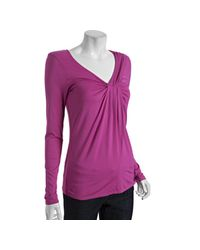 Three Dots | Rosy Pink Stretch Gathered V-neck Long Sleeve Top | Lyst