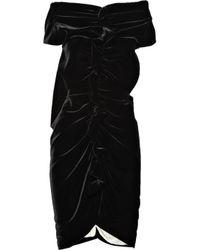 Vionnet Black Ruched Velvet Dress