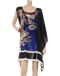 Vionnet Blue Sequin-embellished Silk-crepe Dress