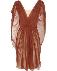 Vionnet Red Silk-chiffon Cape Dress