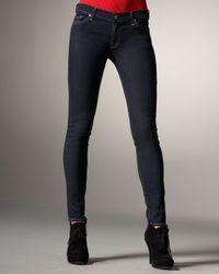 7 For All Mankind | Black Skinny Denim Leggings, Indigo | Lyst