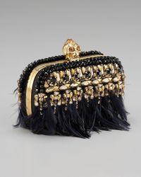 Alexander McQueen Black Feather-fringe Skull Box Clutch