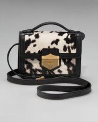 Alexander McQueen Black Printed Calf Hair Crossbody Bag, Medium
