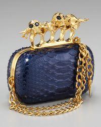 Alexander McQueen Knuckle Duster Chain-strap Clutch, Blue