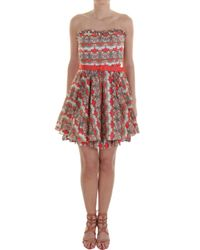 Alice + Olivia Red Savannah Strapless Dress