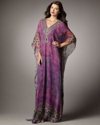 Badgley Mischka | Purple Half-sleeve Printed Caftan | Lyst