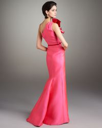 Carolina Herrera - Pink Contrast Bow-shoulder Gown - Lyst