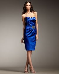 David Meister Blue Jagged-hem Satin Dress
