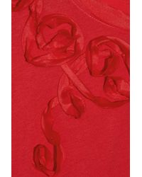DKNY Red Ribbon-embellished Cotton T-shirt