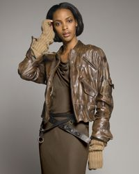 Donna Karan | Brown Vintage Aviator Jacket | Lyst